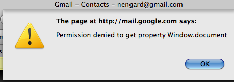 Gmail Contacts Error